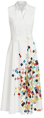 Akris Punto Women's Sleeveless Pixel Print Belted Shirtdress