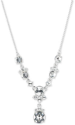 """Givenchy Silver-Tone Crystal Lariat Necklace, 16"""" + 3"""" extender"""