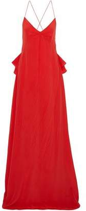 Rochas Open-Back Ruffle-Trimmed Silk Crepe De Chine Gown