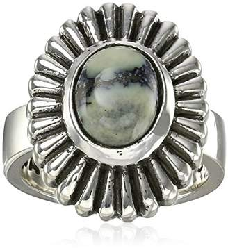 King Baby Studio Small Starburst Concho with Spotted Turquoise Ring