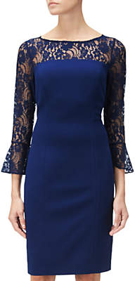 Adrianna Papell Knit Crepe And Lace Sheath Dress, Blue Violet