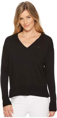 Lacoste Classic Jersey V-Neck Sweater Women's Sweater