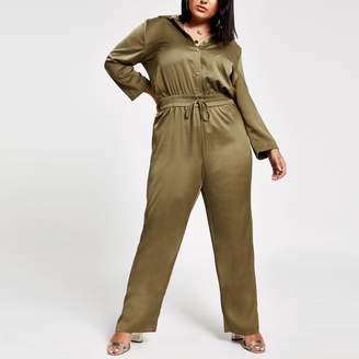 River Island Womens Plus Khaki elasticated waist utility jumpsuit