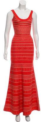 Herve Leger Filipa Chevron Tipping Gown w/ Tags