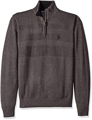 U.S. Polo Assn. Men's Textured Chest 1/4 Zip Sweater
