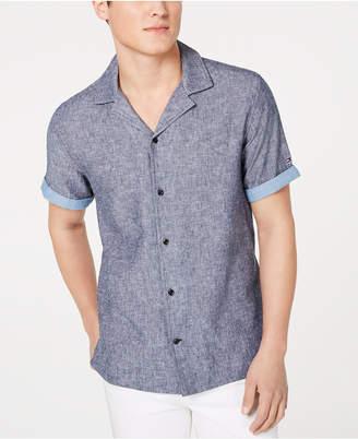 Tommy Hilfiger Men Big & Tall Cooper Custom-Fit Linen Camp Shirt
