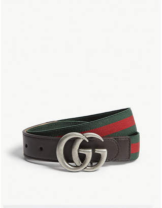 Gucci Web stripe leather trim belt
