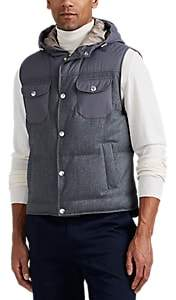 Brunello Cucinelli MEN'S DOWN WOOL-BLEND HOODED VEST - CHARCOAL SIZE M