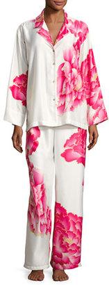 Natori Peony Satin Printed Pajama Set, White Pattern $180 thestylecure.com