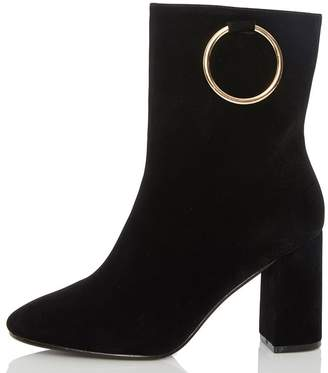 Quiz Black Ring Detail Heel Ankle Boots