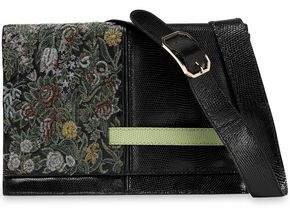 Valentino Snake-Effect Leather And Brocade Shoulder Bag