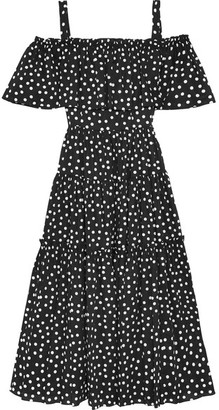 Dolce & Gabbana - Off-the-shoulder Polka-dot Cotton-blend Dress - Black $2,295 thestylecure.com