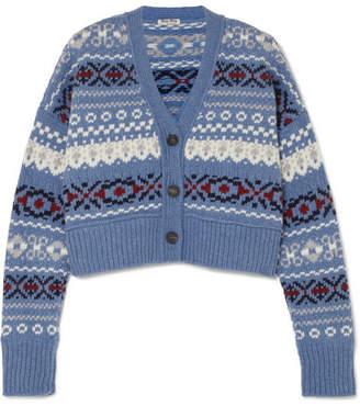 Miu Miu Cropped Fair Isle Wool Cardigan - Blue