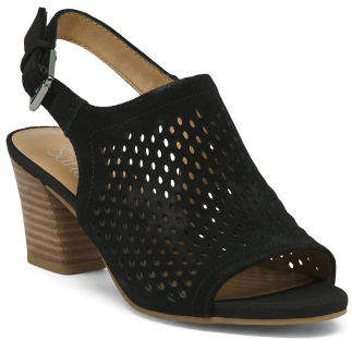 Leather Perforated Slingback Block Heel