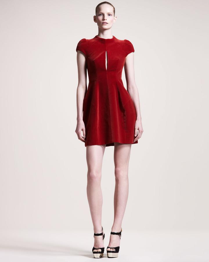 Carven Velvet Cap-Sleeve Dress