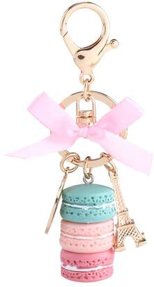 Wal front Creative Macarons Cake Hot Key Chain Hide Rope Pendant Fashion Keychains Car Keyrings Accessories Women Bag Charm Trinket