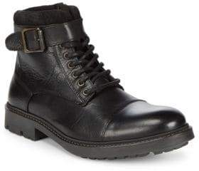 Black & Brown Black Brown Cap Toe Leather Ankle Boots