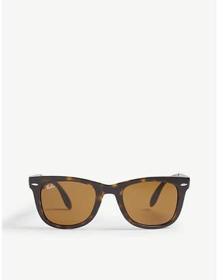 Ray-Ban RB4105 foldable tortoiseshell Wayfarer sunglasses