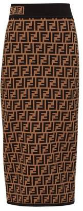 Fendi Ff Jacquard High Rise Knit Pencil Skirt - Womens - Brown Multi