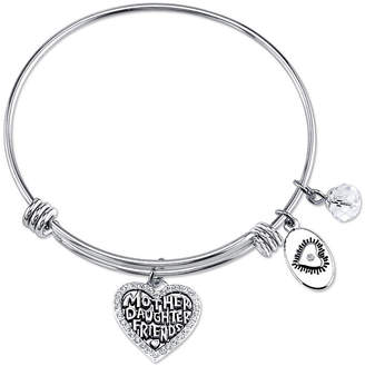 Footnotes Clear Silver Tone Pure Silver Over Brass Heart Bangle Bracelet