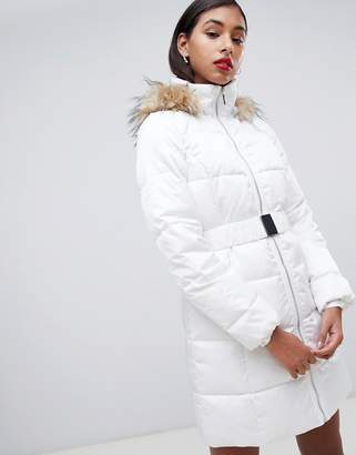 Morgan padded coat with faux fur hood in cream