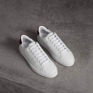 Burberry Perforated Check Leather Sneakers , Size: 43.5, White
