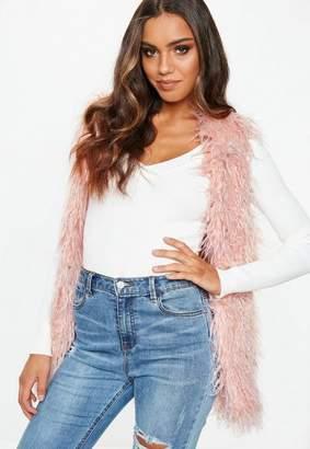 Missguided Pink Shaggy Faux Mongolian Fur Vest