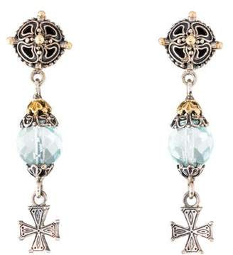 Konstantino Prasiolite Cross Drop Earrings