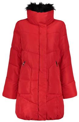 George Long Line Faux Fur Trim Coat