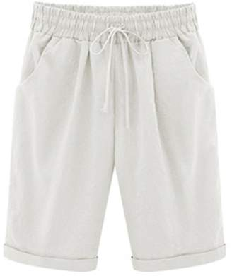 FOURSTEEDS Women's Cotton Drawstring Elastic Waist Knee Length Casual Bermuda Shorts Pocket US 8-10 / Tag Size XL