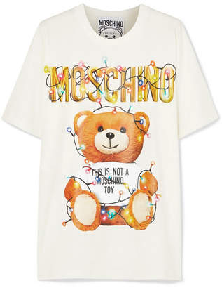 Moschino - Oversized Printed Stretch-cotton Jersey T-shirt - White