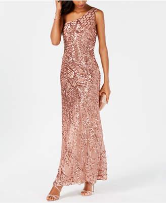 Night Way Nightway Sequined One-Shoulder Gown