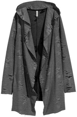 H&M Trashed Hooded Cardigan - Gray