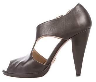 Prada Metallic Cutout Sandals