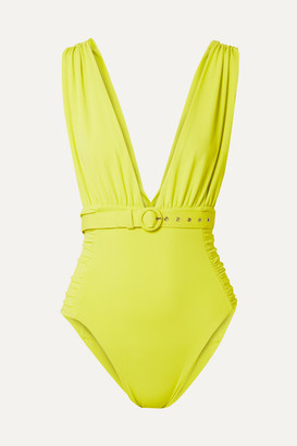 Nicholas Belted Ruched Swimsuit - Chartreuse