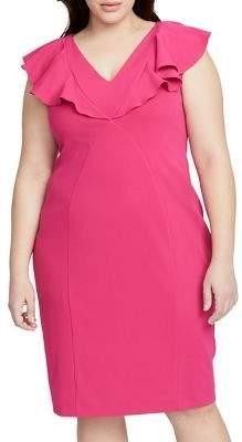 Rachel Roy Plus V-Neck Ruffle Sheath Dress
