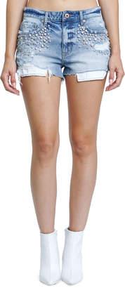 Pistola Winston High-Rise Denim Shorts w/ Crystal Detail