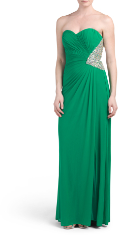 Strapless Ruched Sequined Gown