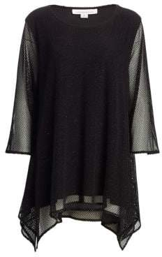 Caroline Rose Plus Crown Jewels Shimmer Mesh Swing Tunic