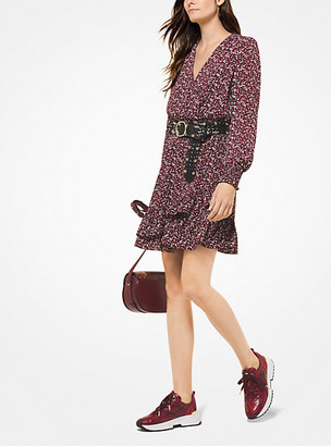 Michael Kors Leaf-Print Ruffled Crepe Dress