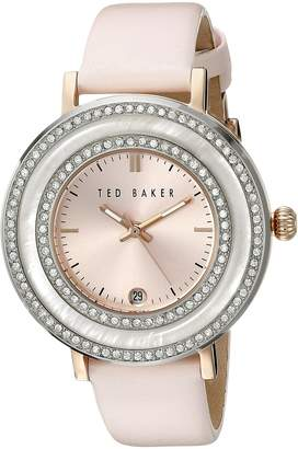 "Ted Baker Women's TE2124 ""Vintage Glam"" Crystal-Accented Stainless Steel Watch with Pink Leather Band"