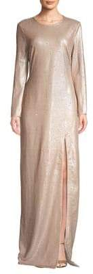 Halston Sequined Front Slit Long Sleeve Gown