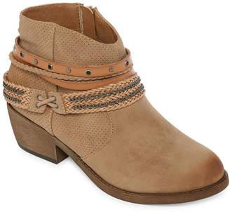 POP Womens Gambit Bootie Block Heel Zip