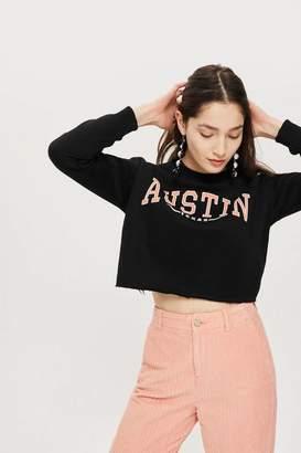 Topshop Petite 'Austin Texas' Slogan Crop Sweatshirt