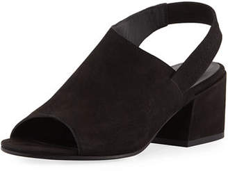 Eileen Fisher Leigh Nubuck Slingback Block-Heel Sandals