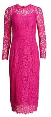 Dolce & Gabbana Long Sleeve Lace Midi Dress