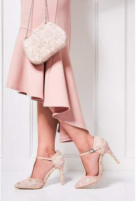 Quiz Pink Glitter Lace T-Bar Heeled Shoes