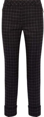 Akris Checked Wool-flannel Straight-leg Pants - Midnight blue
