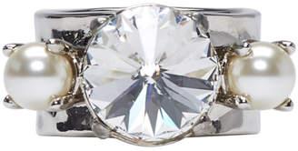 Miu Miu Silver Pearls and Crystal Ring