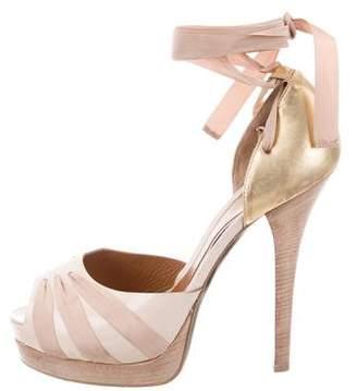 Fendi Satin Lace-Up Platform Sandals